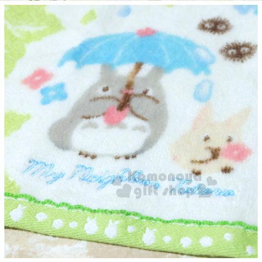〔小禮堂〕宮崎駿 Totoro龍貓 棉質方型毛巾《綠.撐傘.花草.朋友》100%純棉.34x36cm 1