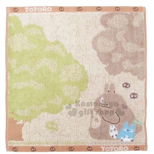 〔小禮堂〕宮崎駿Totoro龍貓棉質方型毛巾《咖.看樹.站姿.朋友》100%純棉.34x36cm