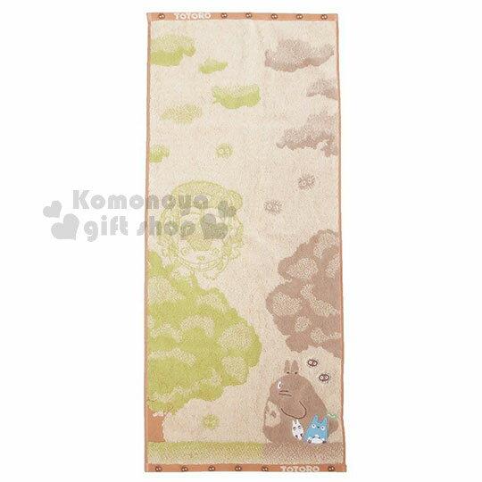 〔小禮堂〕宮崎駿Totoro龍貓純棉長毛巾《綠.棕.看大樹.站姿》80x34cm