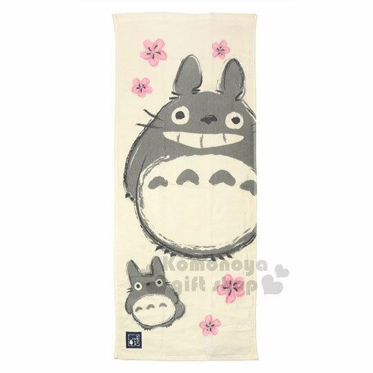 〔小禮堂〕宮崎駿Totoro龍貓日製純棉長毛巾《米白.日式.櫻花》80x34cm