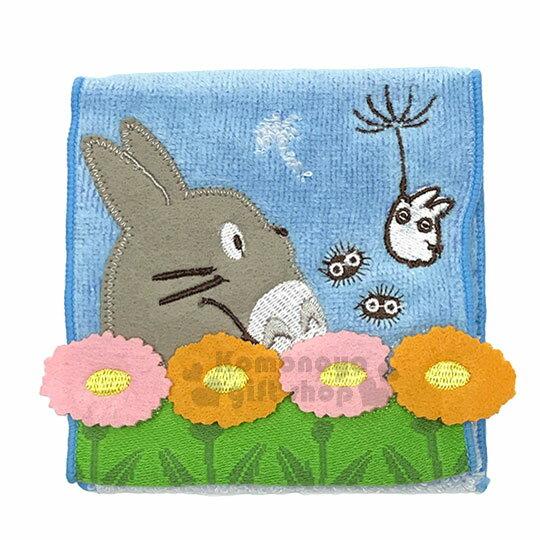 〔小禮堂〕宮崎駿 龍貓 TOTORO 毛巾布收納袋《藍.側臉.花》生理包.暖暖包袋