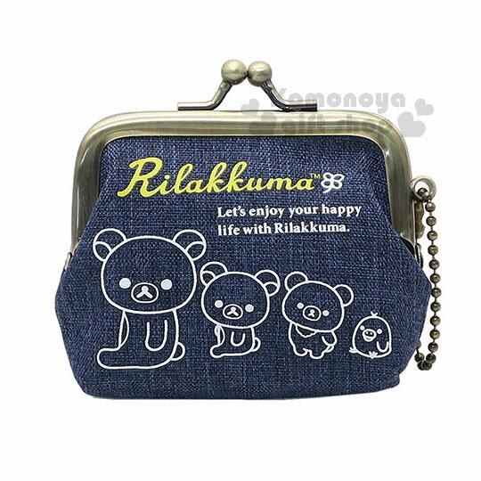〔小禮堂〕拉拉熊 懶懶熊 帆布口金零錢包《深藍.側坐.白素描》附珠鍊