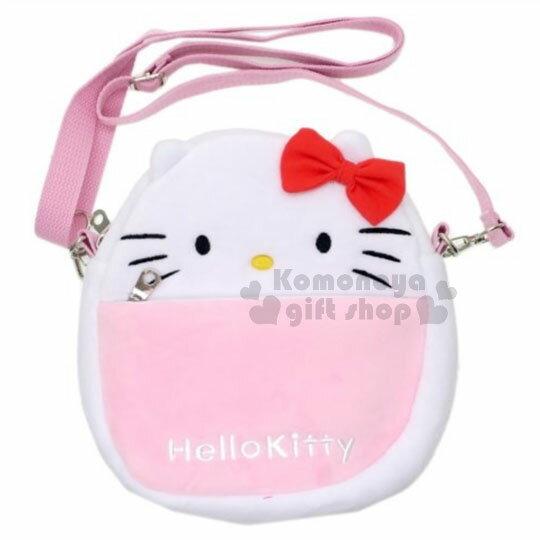 〔小禮堂﹞HelloKitty絨布造型斜背包《白粉.紅蝴蝶結.大臉》側背包.手機包