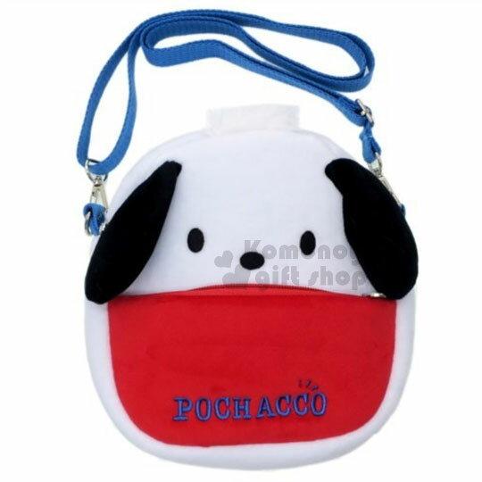 〔小禮堂﹞帕恰狗絨布造型斜背包《白紅.黑耳.大臉》側背包.手機包
