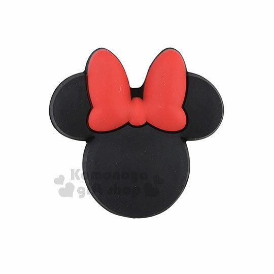 〔小禮堂〕迪士尼米妮造型傳輸線保護套《黑.臉型》USB線套