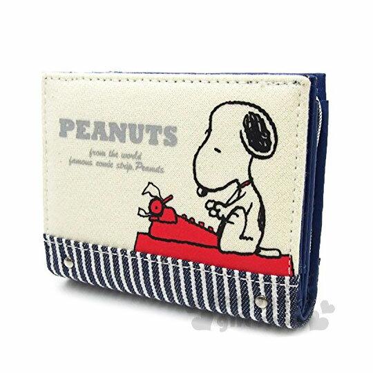 〔小禮堂〕史努比帆布扣式短夾《白黑.側坐.打字機》皮夾.零錢包