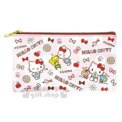 〔小禮堂〕Hello Kitty 皮質扁平拉鍊筆袋《紅.蝴蝶結.點點滿版》收納包.化妝包.萬用包