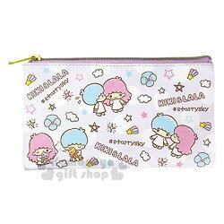 〔小禮堂〕雙子星 皮質扁平拉鍊筆袋《紫.星星.點點.滿版》收納包.化妝包.萬用包
