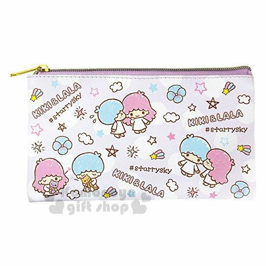 〔小禮堂〕雙子星皮質扁平拉鍊筆袋《紫.星星.點點.滿版》收納包.化妝包.萬用包
