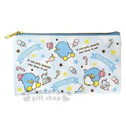 〔小禮堂〕山姆企鵝 皮質扁平拉鍊筆袋《藍.冰淇淋.滿版》收納包.化妝包.萬用包