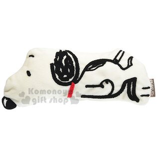 〔小禮堂〕史努比造型絨布眼罩《白黑.趴姿》居家旅行適用