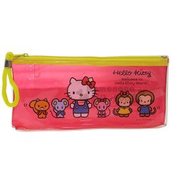 〔小禮堂﹞Hello Kitty 防水拉鍊筆袋《透明.紅黃.站姿.朋友》收納包.化妝包