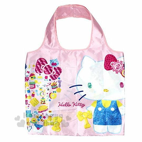 〔小禮堂〕HelloKitty折疊式環保購物袋《粉.寶石.蝴蝶結》附拉鍊收納袋