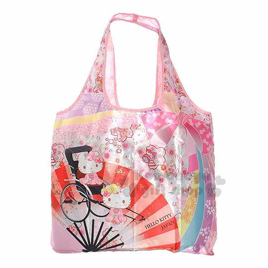 〔小禮堂〕HelloKitty折疊式環保購物袋《粉.扇子.蝴蝶結》附拉鍊收納袋