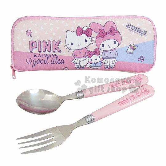 〔小禮堂〕Sanrio大集合不鏽鋼叉匙組附袋《粉.點點.歪頭.站姿》環保餐具