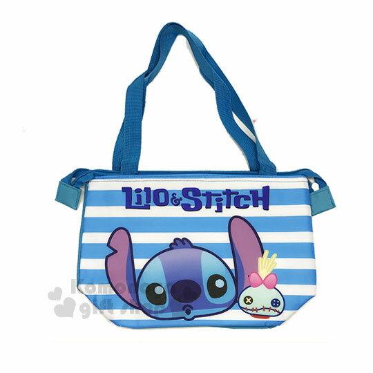 〔小禮堂〕迪士尼史迪奇尼龍保冷提袋《藍.大臉.條紋》內層鋁箔.便當袋