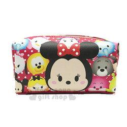〔小禮堂﹞迪士尼 Tsum Tsum 皮質拉鍊筆袋《桃粉.米妮.點點》鉛筆盒.化妝包.萬用包