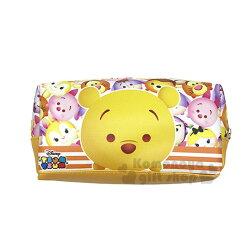 〔小禮堂﹞迪士尼 Tsum Tsum 皮質拉鍊筆袋《黃.小熊維尼.條文》鉛筆盒.化妝包.萬用包