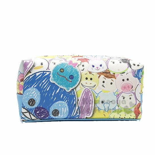 〔小禮堂﹞迪士尼TsumTsum皮質拉鍊筆袋《藍.手繪風.史迪奇大臉》鉛筆盒.化妝包.萬用包