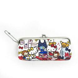 〔小禮堂﹞Hello Kitty 皮質口金筆袋《白紅.書本.畫畫》附珠鍊