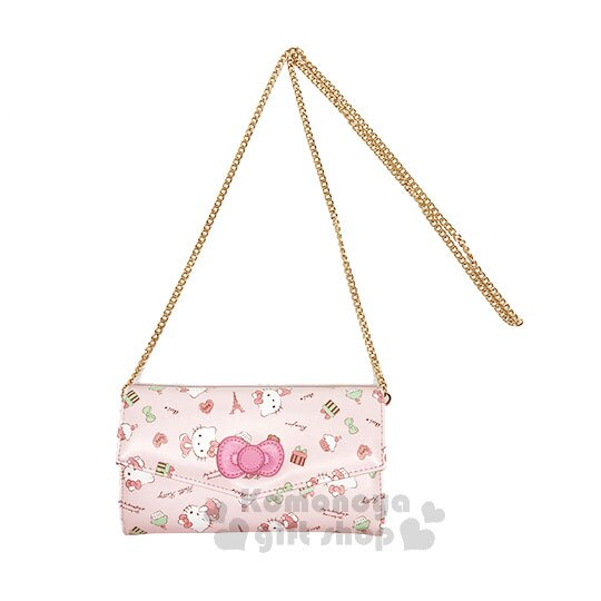 〔小禮堂﹞Hello Kitty 皮革扣式長夾斜背包《粉.蝴蝶結.鐵塔》側背包.手拿包.皮夾.法式午後系列