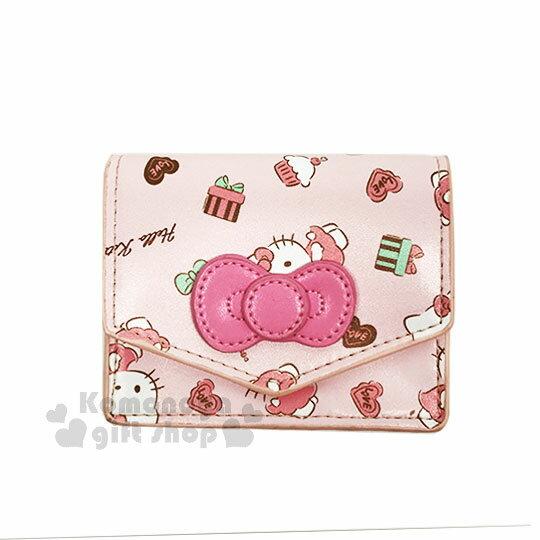 〔小禮堂〕HelloKitty皮革扣式名片夾《粉.蝴蝶結.鐵塔》零錢包.票卡夾.法式午後系列