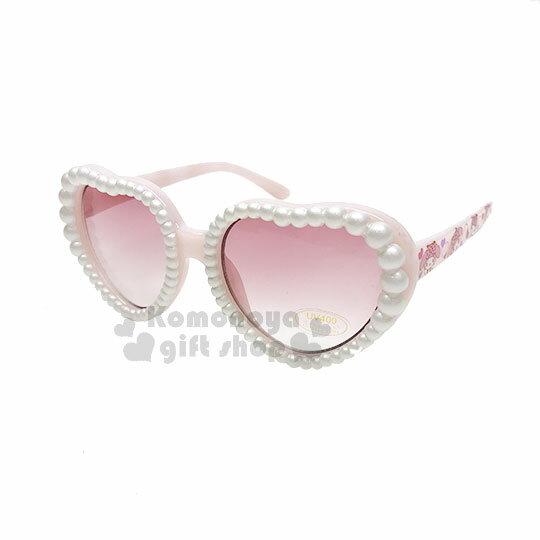 〔小禮堂〕美樂蒂兒童造型太陽眼鏡《粉.愛心框.珍珠》抗UV.遮陽.墨鏡