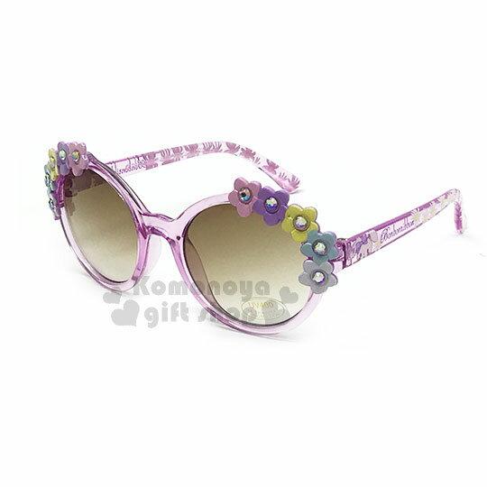 〔小禮堂〕蹦蹦兔兒童造型太陽眼鏡《粉.圓框.花朵》抗UV.遮陽.墨鏡