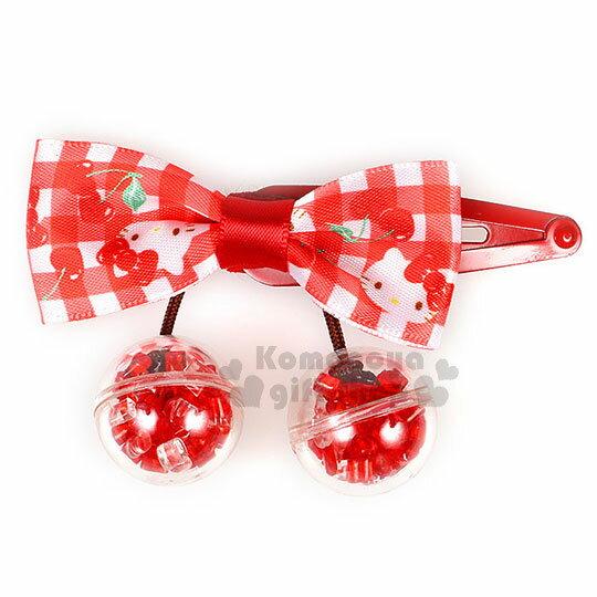 〔小禮堂〕HelloKitty緞帶壓克力球造型髮夾《紅.格紋》鴨嘴夾.髮飾