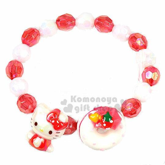 〔小禮堂〕HelloKitty兒童串珠手鍊《紅白.圓珠.甜甜圈》彈性伸縮.手環.首飾