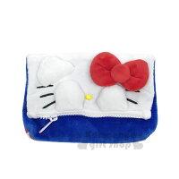 凱蒂貓週邊商品推薦到〔小禮堂〕Hello Kitty 造型絨布收納包《紅藍.大臉.遮眼》化妝包.萬用包