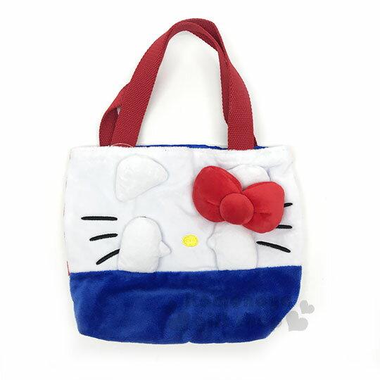 〔小禮堂〕HelloKitty造型絨布手提袋《紅藍.大臉.遮眼》便當袋