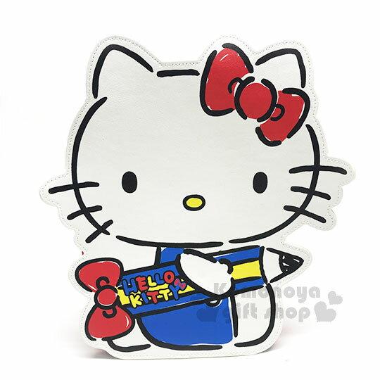 〔小禮堂〕HelloKitty皮質造型兒童後背包《紅白.側坐.拿筆》可調式背帶