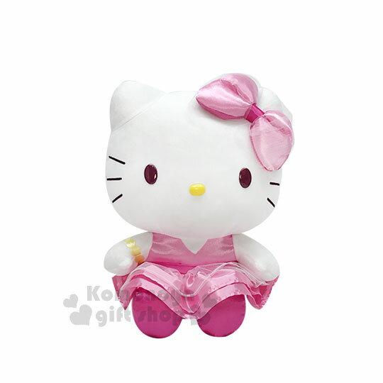 〔小禮堂〕HelloKitty絨毛玩偶娃娃《M.坐姿.粉紅洋裝.金色手鍊》擺飾品