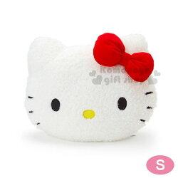 〔小禮堂〕Hello Kitty 造型絨毛抱枕《S.白.大臉.紅蝴蝶結》靠枕.靠墊