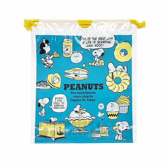 〔小禮堂〕史努比防水束口袋《XL.藍綠.對話框.多圖》收納袋.縮口袋