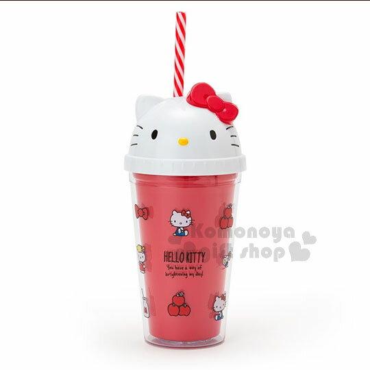 〔小禮堂〕HelloKitty造型塑膠吸管杯《紅.大臉.朋友》300ml.飲料杯.水杯