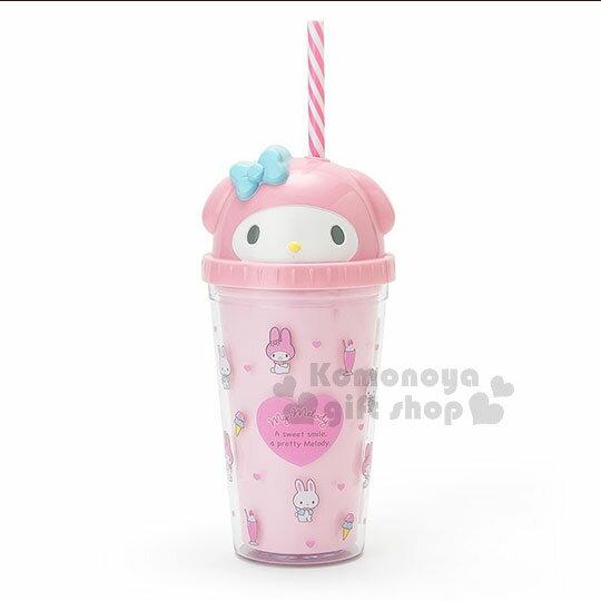 〔小禮堂〕美樂蒂造型塑膠吸管杯《粉.大臉.冰淇淋》300ml.飲料杯.水杯