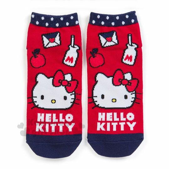 〔小禮堂]Hello Kitty 成人及踝襪《紅藍.大臉.蘋果》短襪.隱形襪.23-25公分