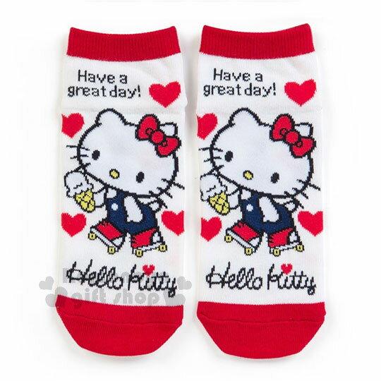 〔小禮堂〕Hello Kitty 成人及踝襪《紅白.溜冰.愛心》短襪.隱形襪.23-25公分