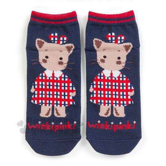 〔小禮堂〕Winki Pinki 成人及踝襪~藍紅.站姿.穿洋裝~短襪.隱形襪.23~25