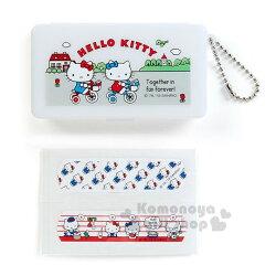 〔小禮堂〕Hello Kitty 日製OK蹦收納盒《白.騎腳踏車.朋友》收納盒.飾品盒