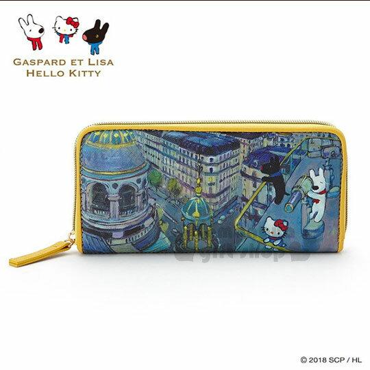 〔小禮堂〕Hello Kitty x 麗莎與卡斯柏 皮質拉鍊長夾《黃.看風景.望遠鏡》邂逅巴黎系列
