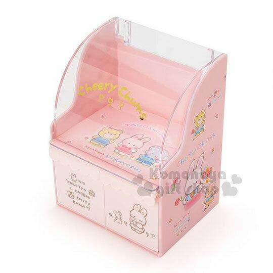 〔小禮堂〕凱莉兔桌上型抽屜收納盒《粉.拿花》置物盒.童話花園系列