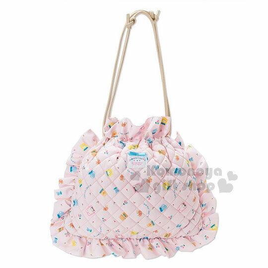 〔小禮堂〕凱莉兔2way棉質荷葉邊束口手提袋《粉.多圖.滿版》側背袋.童話花園系列