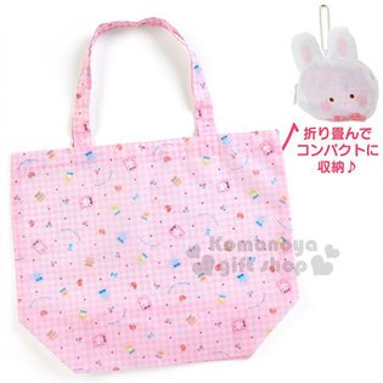 〔小禮堂〕凱莉兔造型折疊環保購物袋《白粉.大臉》附收納袋.環保袋.童話花園系列