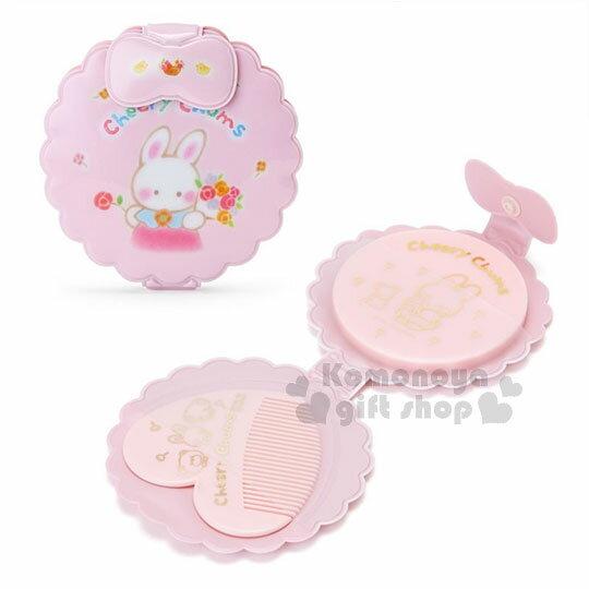 〔小禮堂〕凱莉兔扣式造型鏡梳組《粉.站姿.拿花》隨身攜帶.童話花園系列