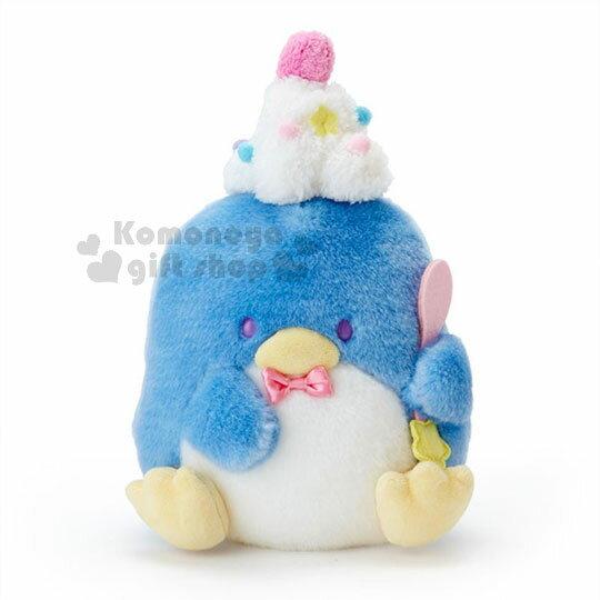 〔小禮堂〕山姆企鵝絨毛玩偶娃娃《藍.派對帽.蝴蝶結》旅行餐車系列