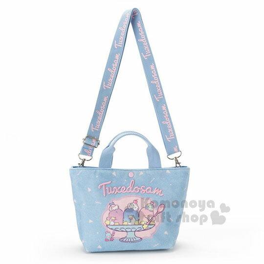 〔小禮堂〕山姆企鵝兩用帆布手提袋《藍.聖代杯》斜背袋.便當袋.旅行餐車系列