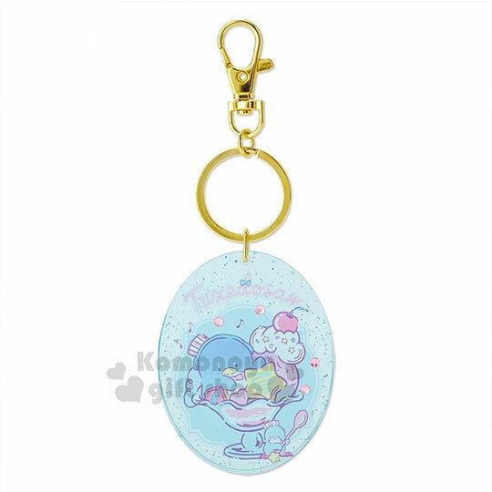 〔小禮堂〕山姆企鵝壓克力鑰匙圈《藍.聖代杯》掛飾.吊飾.旅行餐車系列